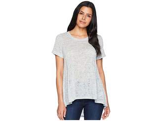 Nally & Millie Short Sleeve High-Low Tunic with Pleated Back