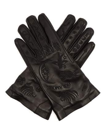 Gucci Palmistry Embroidered Leather Gloves - Mens - Black