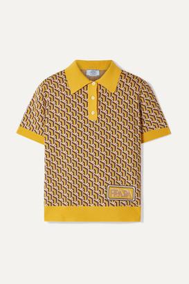 Prada Intarsia Silk Polo Shirt - Yellow