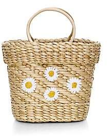 Poolside Women's Mini The Mak Daisy Embroidered Basket Beach Tote Bag