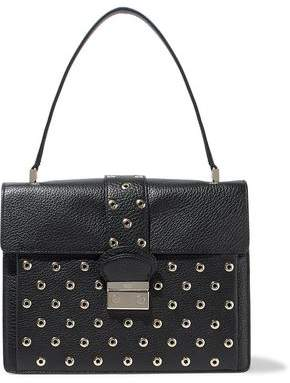 RED Valentino Eyelet-Embellished Textured-Leather Tote