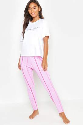 boohoo Petite Dreamer Stripe PJ Trouser Set