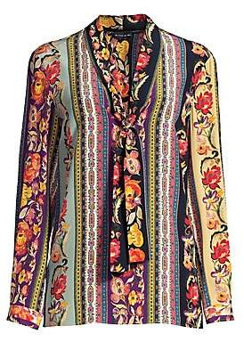 Etro Women's Ribbon Floral Tie-Neck Silk Blouse