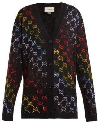 Gucci Gg Crystal Embellished Wool Cardigan - Womens - Black Multi