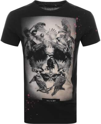 Birds Skull T Shirt Black