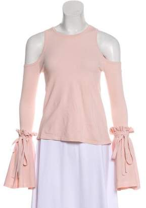 Milly Ruffle-Accented Short Sleeve Top
