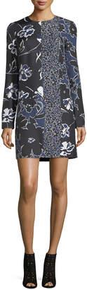 Michael Kors Patchwork Long-Sleeve Shift Dress