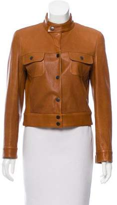 Giorgio Armani Stand Collar Leather Jacket