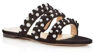 Charlotte Olympia Women's Celina Pearl Embellished Slide Sandals