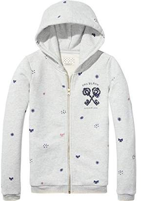 Scotch & Soda R'Belle Girl's Zip Through Hooded Sweater with Allovers Chest Artwork Sweatshirt,(Manufacturer Size: 4)