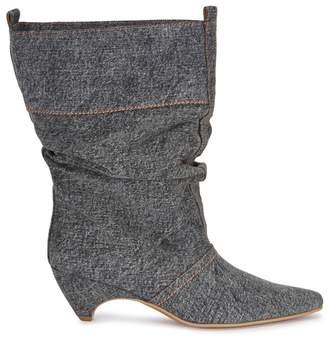 Stella McCartney Dark Grey Slouched Denim Ankle Boots