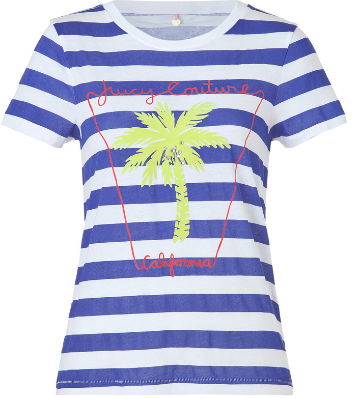 Juicy Couture Cobalt Blue and White Striped Palm Tree Boxy Tee