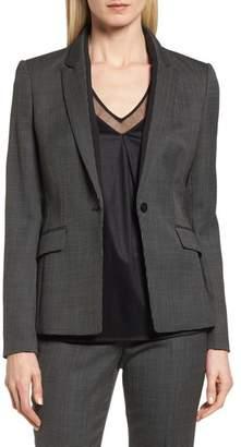 BOSS Jeresa Check Stretch Wool Suit Jacket