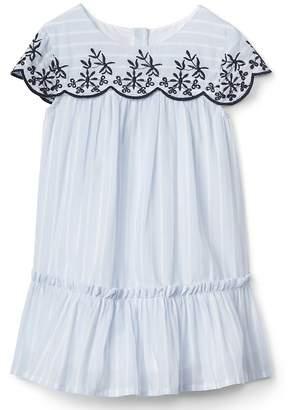 Gap Stripe Embroidery Ruffle Dress