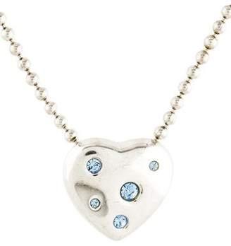 Saint Laurent Crystal Heart Pendant Necklace