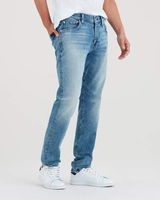 7 For All Mankind Luxe Sport Adrien Slim Tapered with Clean Pocket in Authentic Sonar