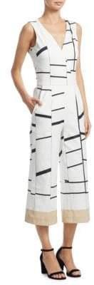 Akris Cotton V-Neck Striped Jumpsuit