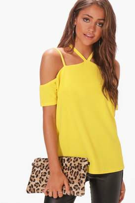boohoo Shama Strappy Neck Cold Shoulder Top
