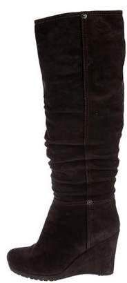 Prada Sport Suede Knee-High Wedge Boots