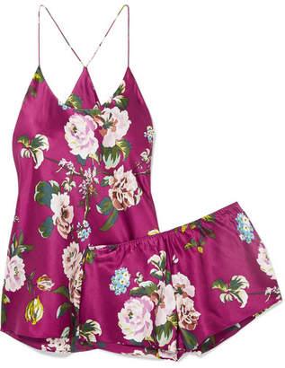 Olivia von Halle - Bella Floral-print Silk-satin Pajama Set - Magenta