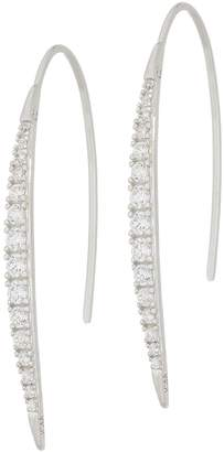 Diamonique Linear Curved Bar Earrings, Sterling Silver