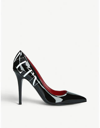 Valentino 105 logo-print patent-leather courts