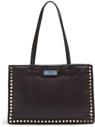 Prada Stud-embellished nylon tote bag