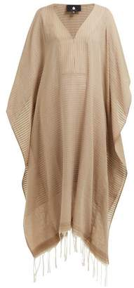 BEIGE Su Paris - V Neck Fringed Cotton Kaftan - Womens