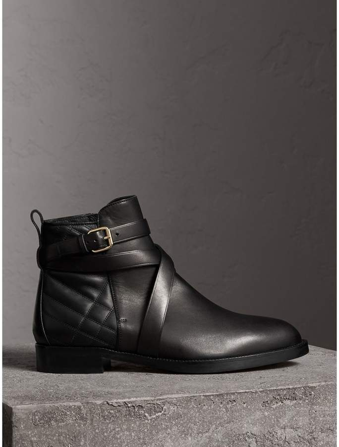 Burberry Strap Detail Quilted Leather Ankle Boots