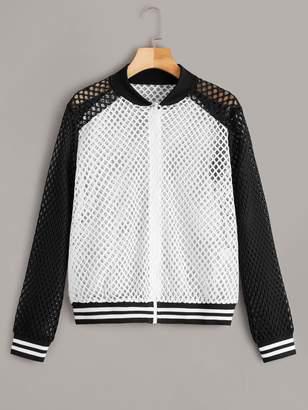 Shein Fishnet Mesh Zip Front Jacket