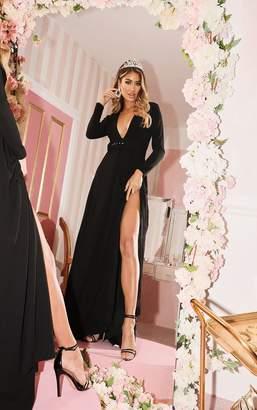 PrettyLittleThing Black Long Sleeve Plunge Belted Maxi Dress