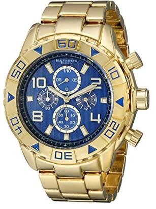Akribos XXIV Men's AK814YGBU Chronograph Quartz Movement Watch with Blue Dial and Yellow Gold Bracelet