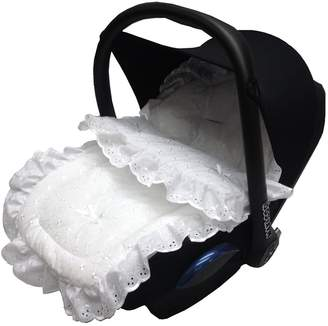 For Your Little One Broderie Anglaise Car Seat Footmuff/Cosy Toes White
