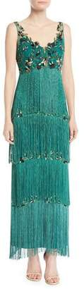 Marchesa Sleeveless Embroidered Fringe Gown