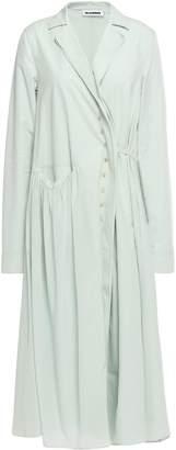 Jil Sander Paneled Cotton-poplin And Silk Crepe De Chine Midi Dress