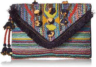 Steve Madden Pennie Tribal Geometric Bohemian Fabric Front Flap Pouch Clutch