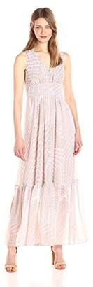 Calvin Klein Women's V-Neck Chiffon Printed Maxi Dress