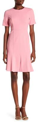Donna Morgan Short Sleeve Knitted Crepe Fit and Flare Dress