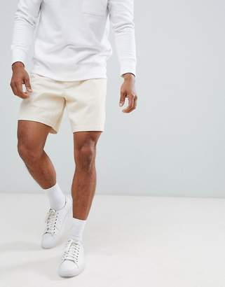 Asos Design DESIGN slim shorts in cream heavyweight washed canvas with elasticated waistband