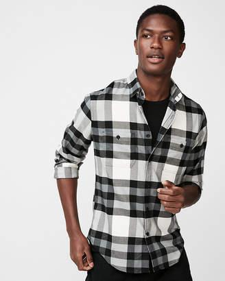 Express Plaid Flannel Stretch Shirt