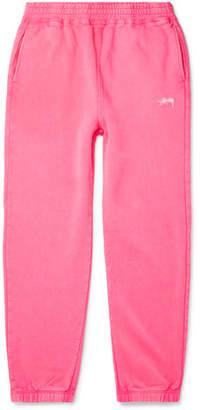 Stussy Logo-Embroidered Fleece-Back Cotton-Jersey Sweatpants
