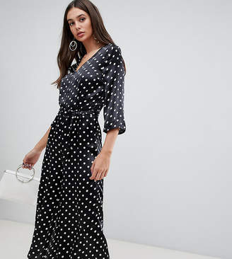 Influence Tall polka dot satin print jumpsuit with tie waist