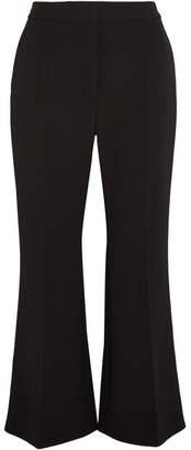 Stella McCartney Angela Cropped Wool-blend Crepe Flared Pants - Black