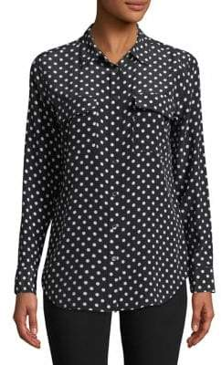 Equipment Slim Polka Dot Silk Shirt