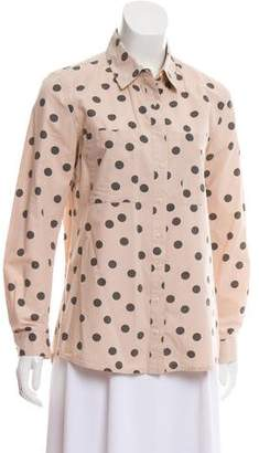 Chinti and Parker Polka Dot Button-Up Top