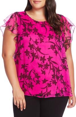 Vince Camuto Iris Flutter Sleeve Floral Top