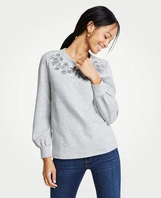 Ann Taylor Embroidered Floral Sweatshirt