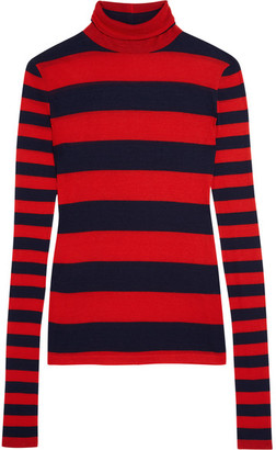 J.Crew - Striped Tencel And Cashmere-blend Turtleneck Sweater - Red $120 thestylecure.com