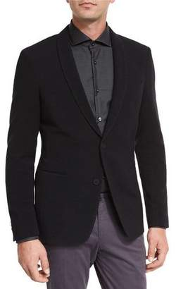 BOSS Ottoman Jersey Shawl-Collar Blazer, Black $745 thestylecure.com