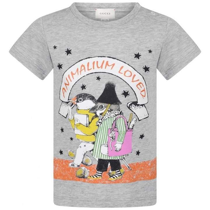 GUCCIBaby Boys Grey Animalium Print Top
